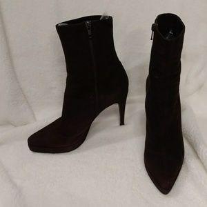 Casadei Flora Suede Platform Spike Heel Low Boot 8